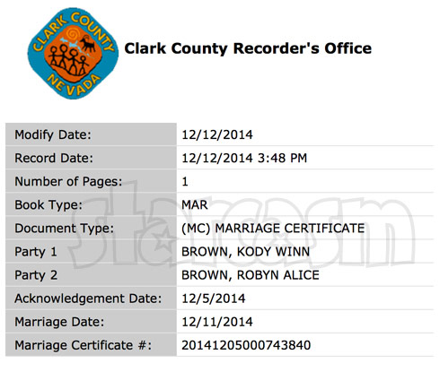 Sister Wives Kody Brown Robyn marriage certificate