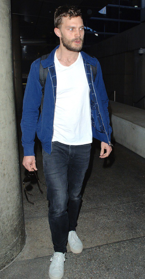 Jamie Dornan arrives at  Los Angeles International Airport
