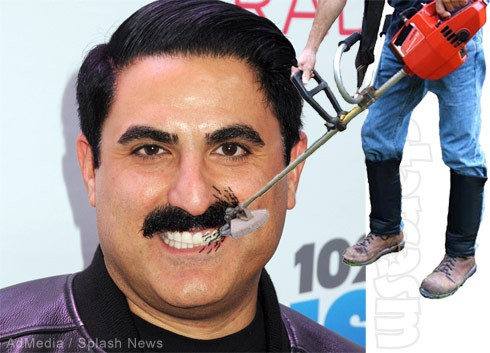 Reza Farahan mustache trim weed eater