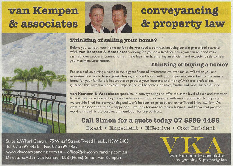 Simon van Kempen law firm advertisement with address and contact info