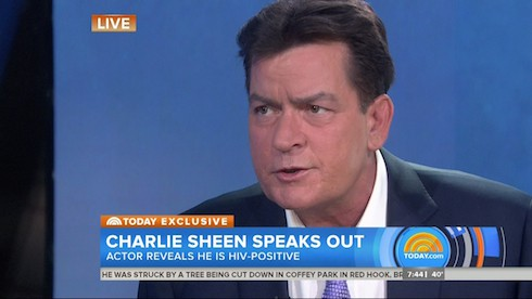 Charlie Sheen during an appearance on NBC's ' Today Show' Charlie reveals  that he had been HIV positive for the last four years.  Featuring: Charlie Sheen Where: United States When: 17 Nov 2015 Credit: Supplied by WENN.com  **WENN does not claim any ownership including but not limited to Copyright, License in attached material. Fees charged by WENN are for WENN's services only, do not, nor are they intended to, convey to the user any ownership of Copyright, License in material. By publishing this material you expressly agree to indemnify, to hold WENN, its directors, shareholders, employees harmless from any loss, claims, damages, demands, expenses (including legal fees), any causes of action, allegation against WENN arising out of, connected in any way with publication of the material.**