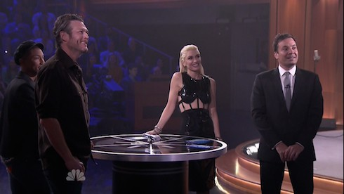 Blake Shelton during an appearance on NBC's 'The Tonight Show' Starring Jimmy Fallon. Blake performs a song off his new album and joins is fellow judges from the voice to play spin the microphone.  Featuring: Blake Shelton Where: United States When: 27 Oct 2015 Credit: Supplied by WENN.com  **WENN does not claim any ownership including but not limited to Copyright, License in attached material. Fees charged by WENN are for WENN's services only, do not, nor are they intended to, convey to the user any ownership of Copyright, License in material. By publishing this material you expressly agree to indemnify, to hold WENN, its directors, shareholders, employees harmless from any loss, claims, damages, demands, expenses (including legal fees), any causes of action, allegation against WENN arising out of, connected in any way with publication of the material.**
