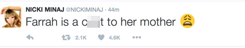 Nicki Minaj Farrah Abraham c word tweet