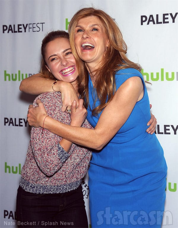 Nashville actresses Hayden Panettiere and Connie Britton together laughing