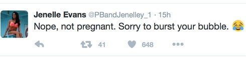 Jenelle Evans not pregnant tweet