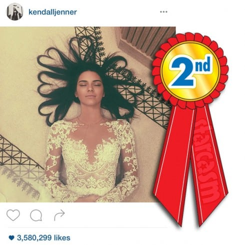 Kendall Jenner heart hair Instagram photo 2nd most liked ever
