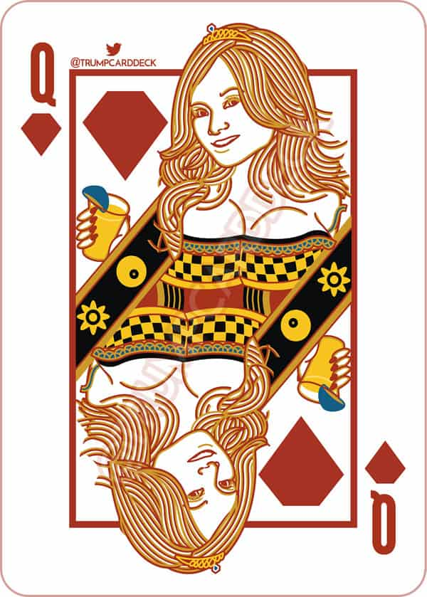 Tila Tequila Donald Trump_playing card queen of diamonds