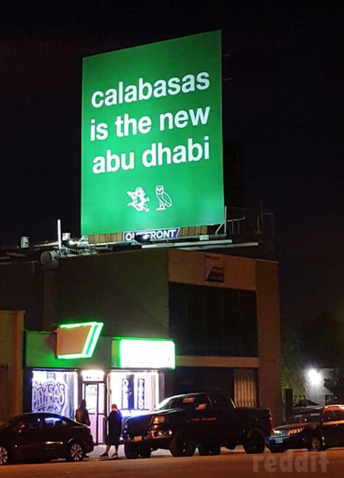 Drake Kanye West billboard calabasas is the new abu dhabi