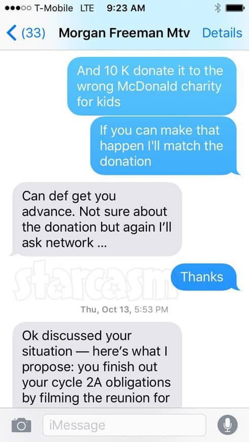 Simon Saran Morgan Freeman texts about charity donation