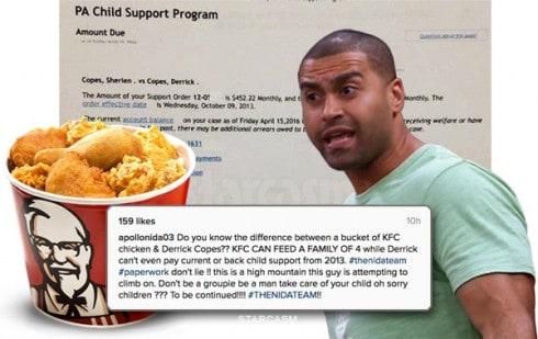 Apollo Nida KFC chicken joke about fiancee Sherien's ex husband Derrick Copes