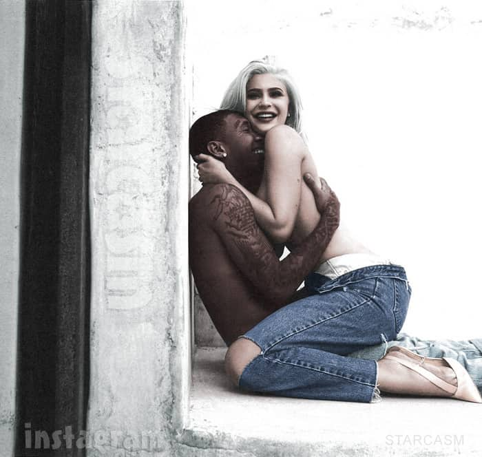 Kylie topless with Tyga birthday photo in color