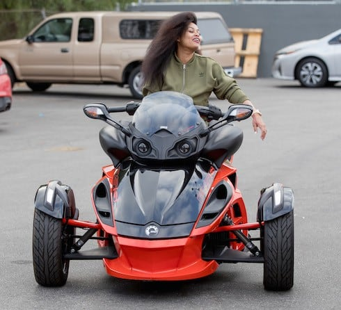 Blac Chyna cruises her three wheel Can Am motorcycle in Los Angeles, CA
