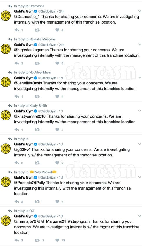 Gold's Gym Nathan Griffith tweets