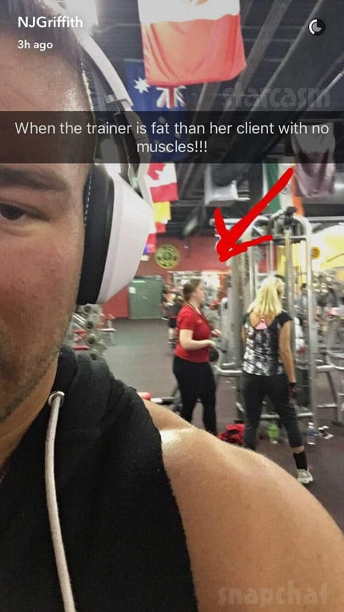 Nathan Griffith fat shames trainer Snapchat photo