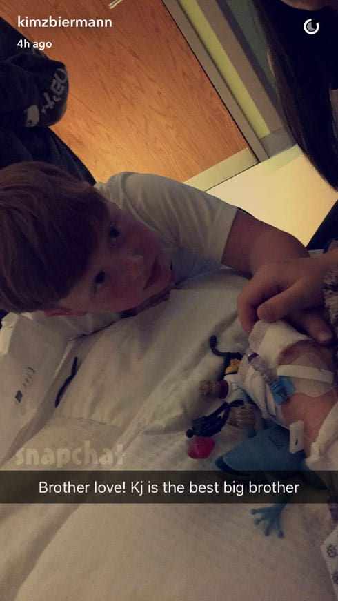 KJ with brother Kash Biermann at the hospital