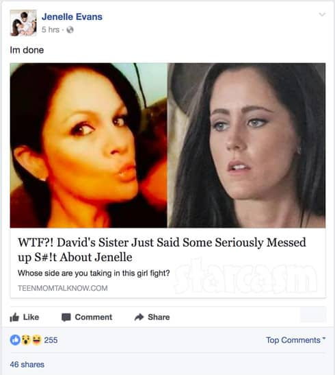 Jenelle Evans Story about Jessica Eason Facebook feud link