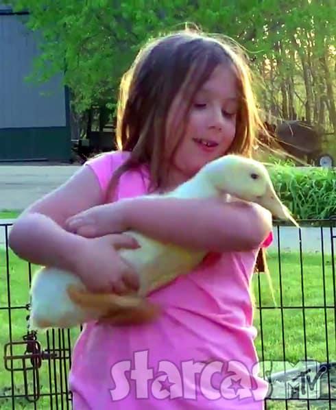 Aubree Houska holding a duck