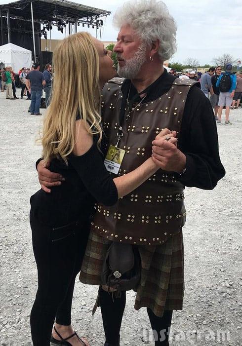 Debra Danielsen and fiance Dr David Merz wearing a kilt