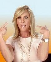 Vicki Gunvalson pointing at herself