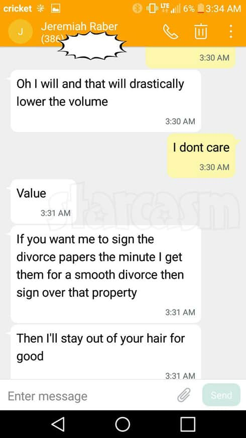 Return To Amish Carmela and Jeremiah Raber divorce texts