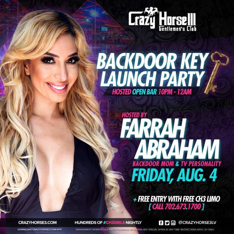 Farrah Abraham Backdoor Key party at Crazy Horse III Las Vegas strip club