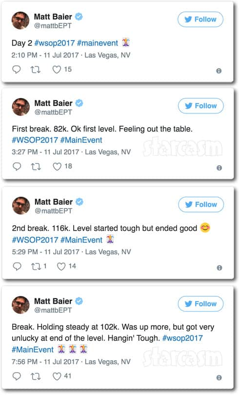 Matt Baier World Series of Poker tweets