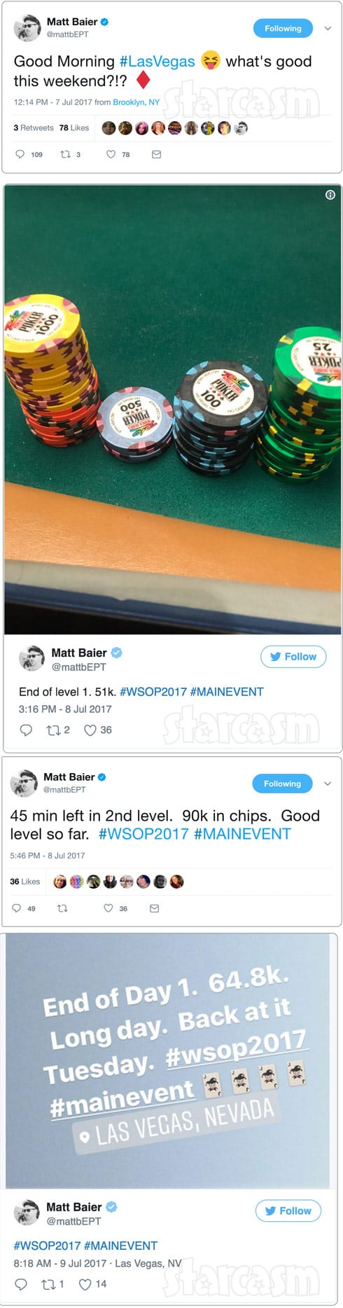 Matt Baier World Series of Poker tweets about buddy Jeff aka Jeffrey Bruno