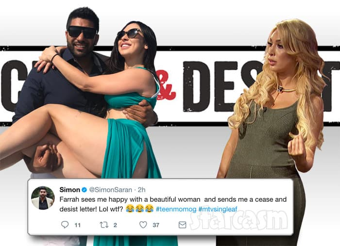 Simon Saran and Farrah Abraham cease and desist letter after break up