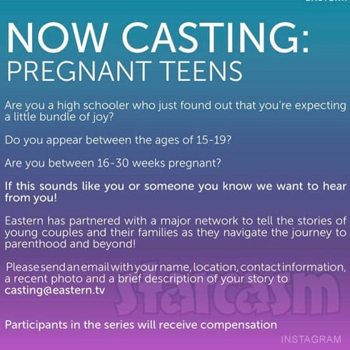 Teen Mom reality series casting call