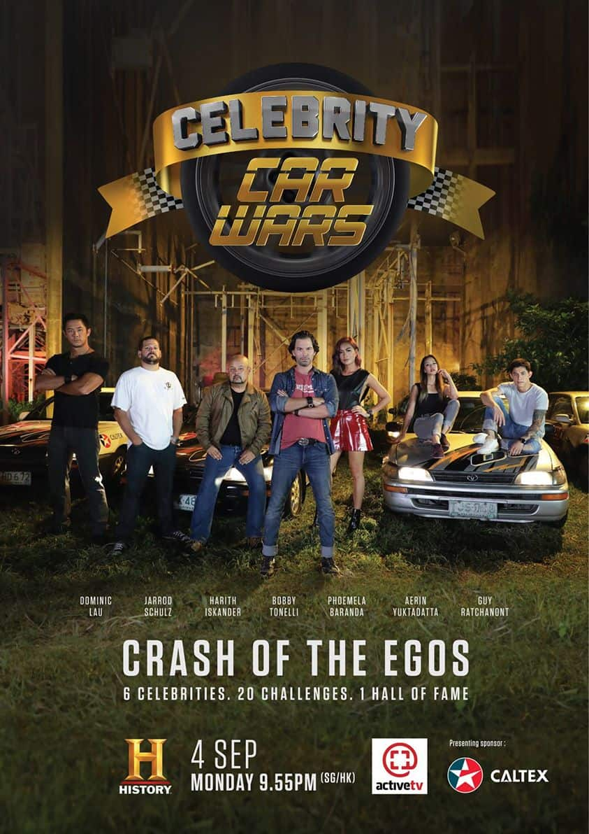Celebrity Car Wars Season 2 with Storage Wars star Jarrod Schulz as well as Dominic Lau, Harith Iskander, Phoemela Baranda, Aerin Yuktadatta and Guy Ratchanont