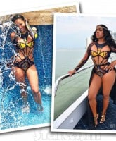 Erica Mena Porsha Williams wearing the same Bfyne swimsuit