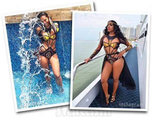 Erica Mena Porsha Williams wearing the same Bfyne swimsuit
