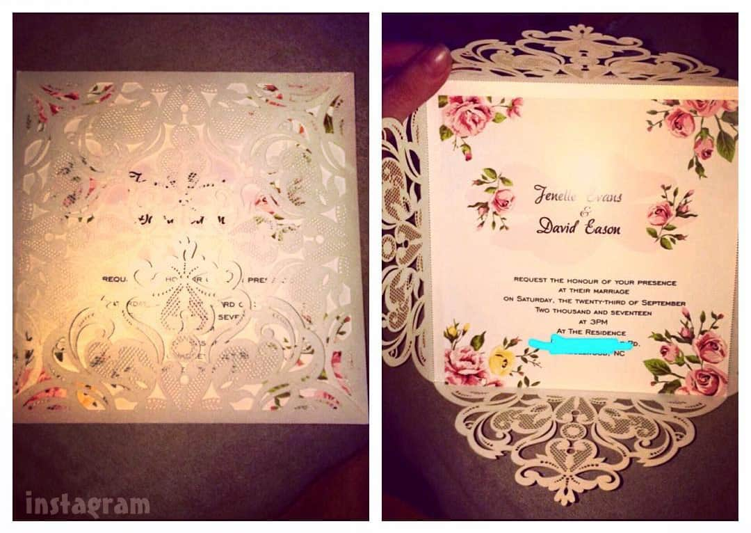 Jenelle Evans wedding invitation