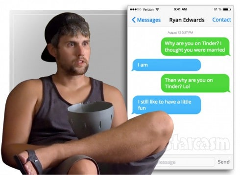 Ryan Edwards caught sexting with woman het met on Tinder