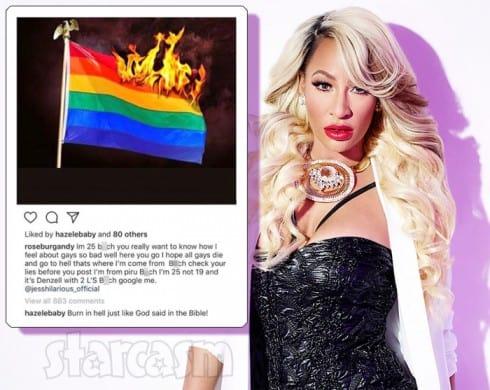 Hazel-E gays burn in Hell Instagram post