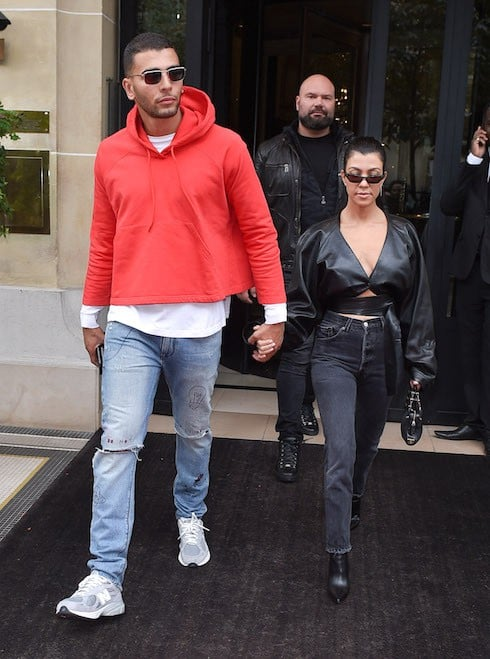 Kourtney Kardashian and boyfriend Younes Bendjima are seen leaving their hotel in Paris and going out shopping