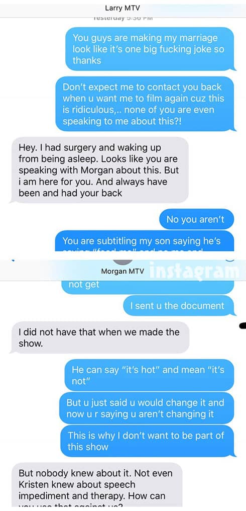 Jenelle Evans MTV texts with producers