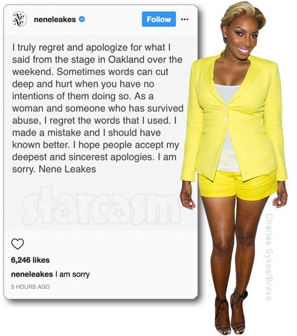 NeNe Leakes apology for rape comment
