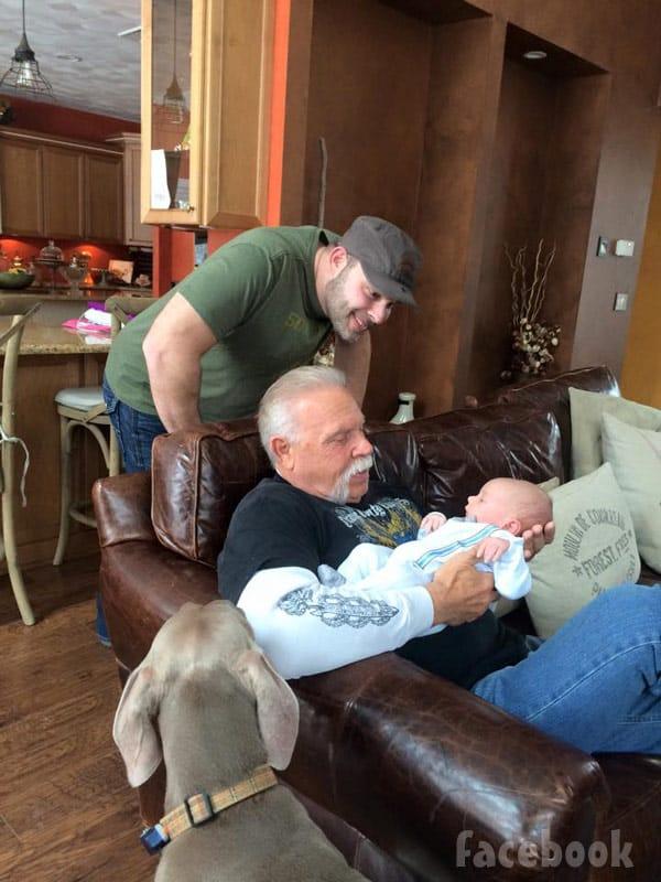 Paul Teutul Sr and Jr with grandson Hudson