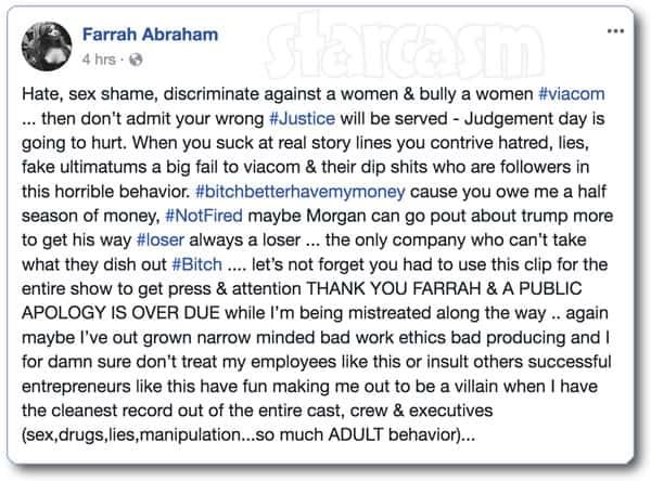 Farrah Abraham firing Facebook post