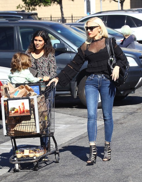 Gwen Stefani spotted leaving Ralph's Supermarket with her son Apollo