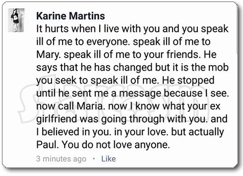 Paul Staehle Facebook breakup Karine response
