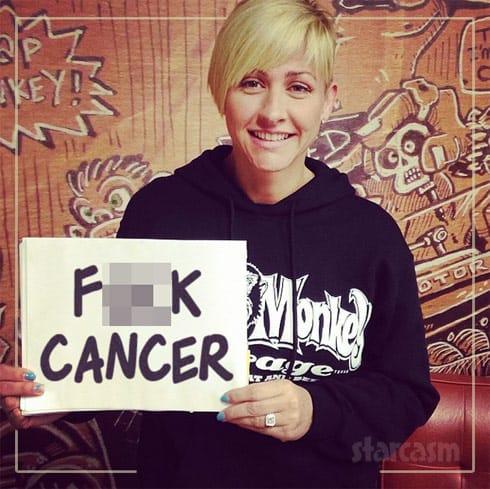Christie Brimberry F**k Cancer sign
