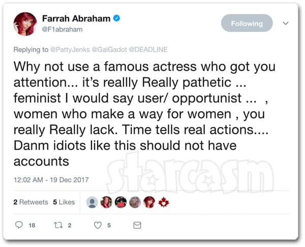 Farrah Abraham attacks Wonder Woman director Patty Jenkins on Twitter