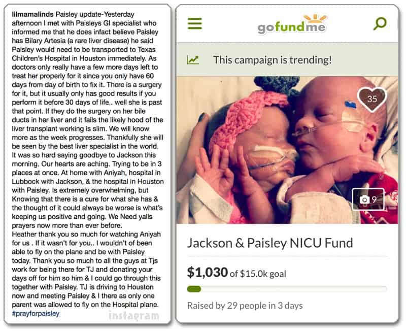 Lindsey Nicholson GoFundMe_Instagram update on Paisley