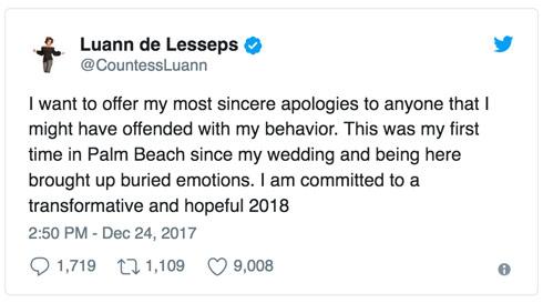 Countess LuAnn de Lesseps arrest apology