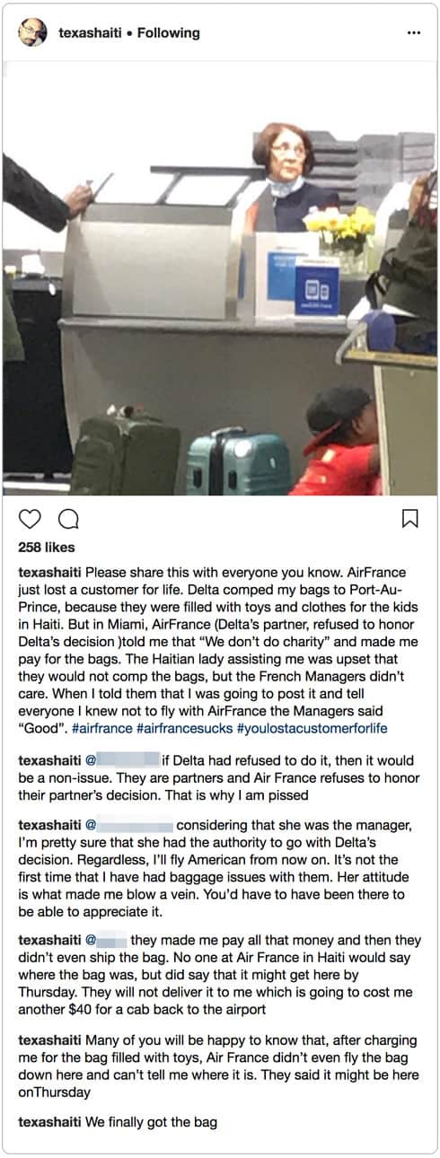 Sean Hiler Air France luggage complaint