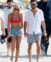 Scott Disick and girlfriend Sofia Richie are seen together in Miami Beach. Sofia was wearing a bright red bikini.