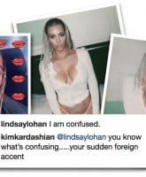 Kim Kardashian braids Lindsay Lohan confused