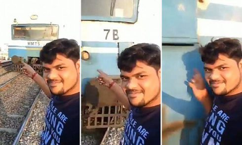 Selfie train accident
